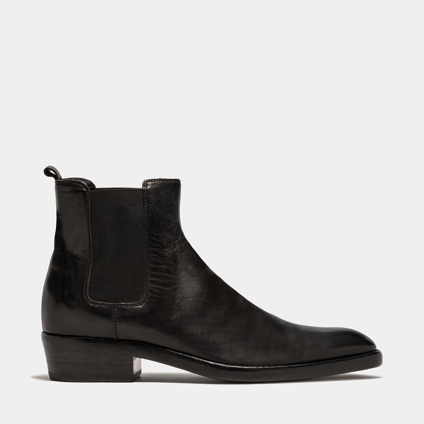 BUTTERO: QUENTIN BOOTS IN BLACK LEATHER