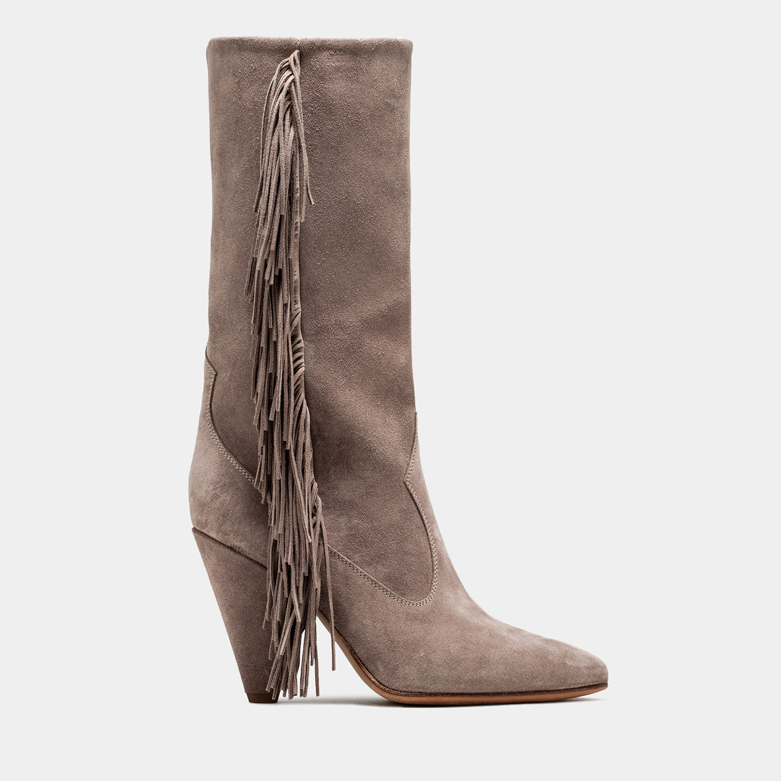 BUTTERO: SPHINX GREY SUEDE ROSE MID TOP BOOTS WITH FRINGES