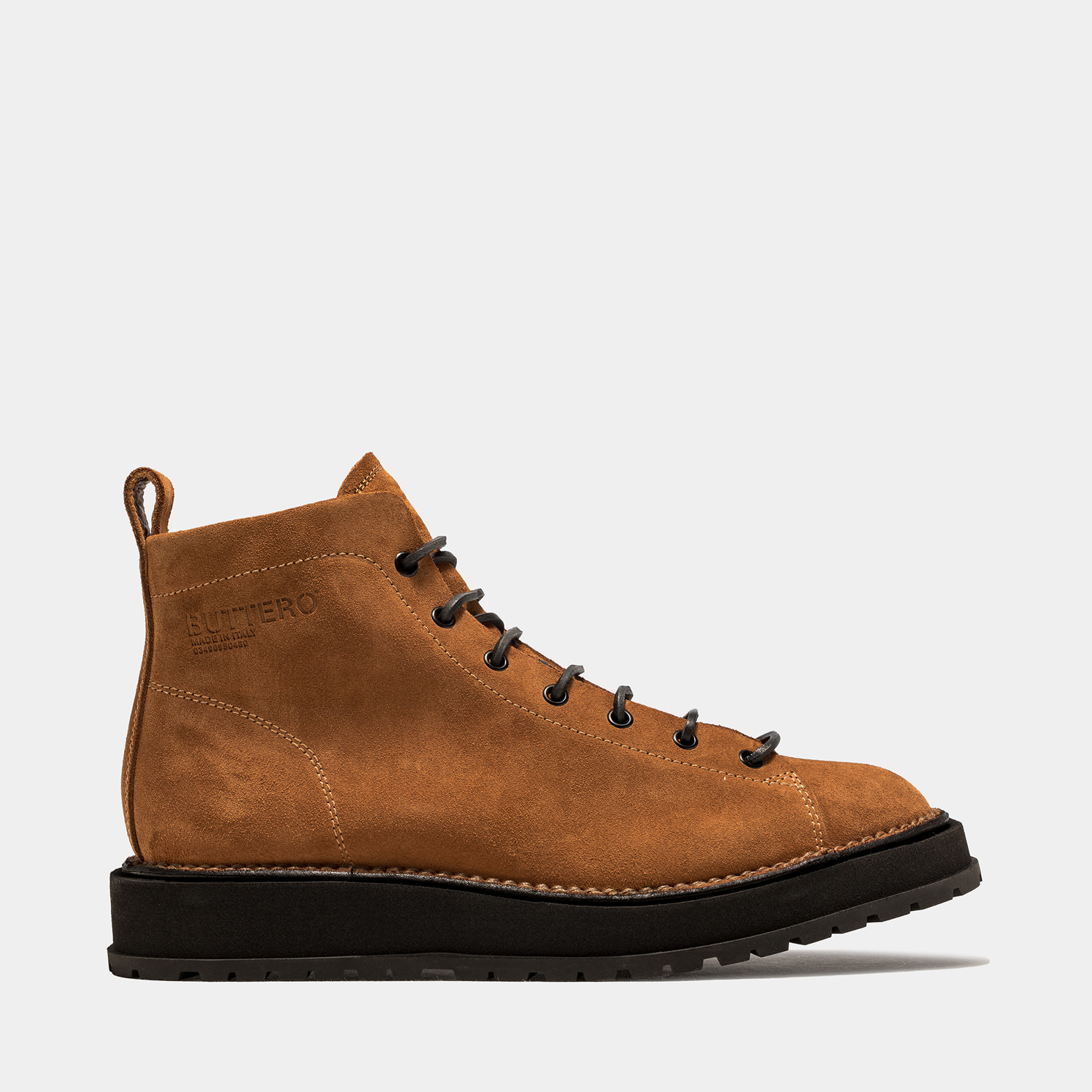 BUTTERO: AEDI LACE-UP BOOTS IN LIGHT BROWN SUEDE