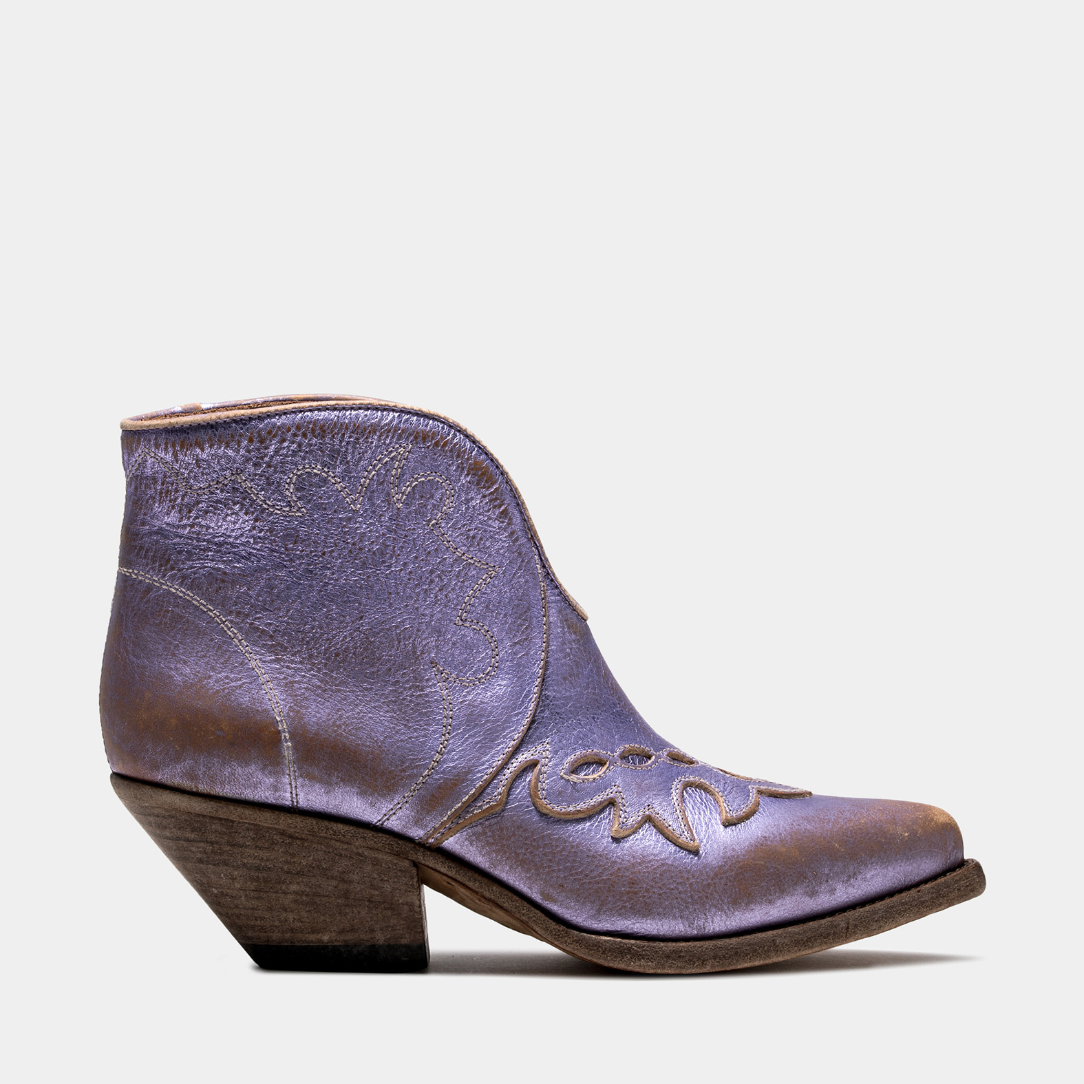 BUTTERO: ELISE LOW TOP DURANGO BOOTS IN PINK LEATHER