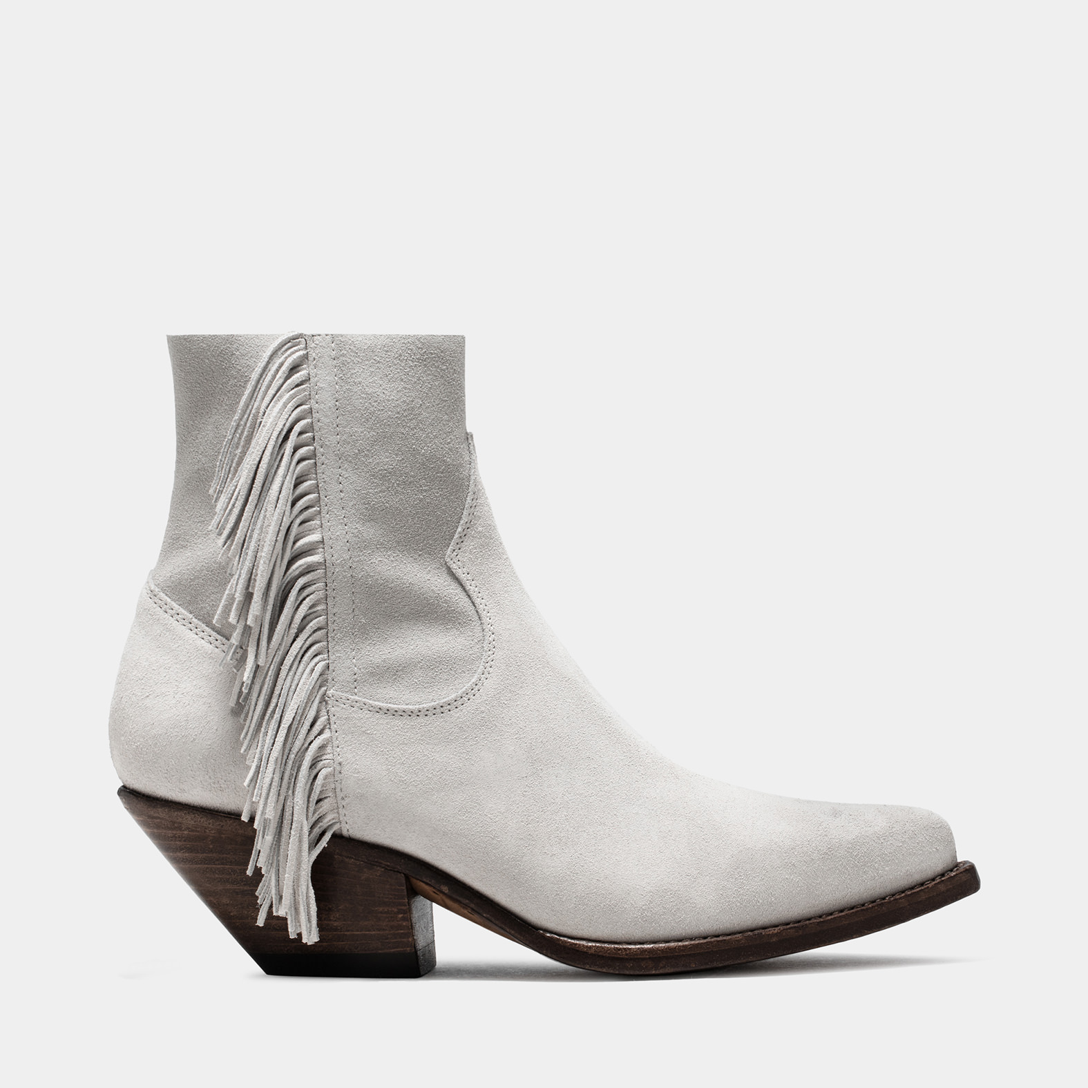 BUTTERO: ELISE LOW TOP DURANGO BOOTS IN SUEDE COLOR WHITE  WITH FRINGES