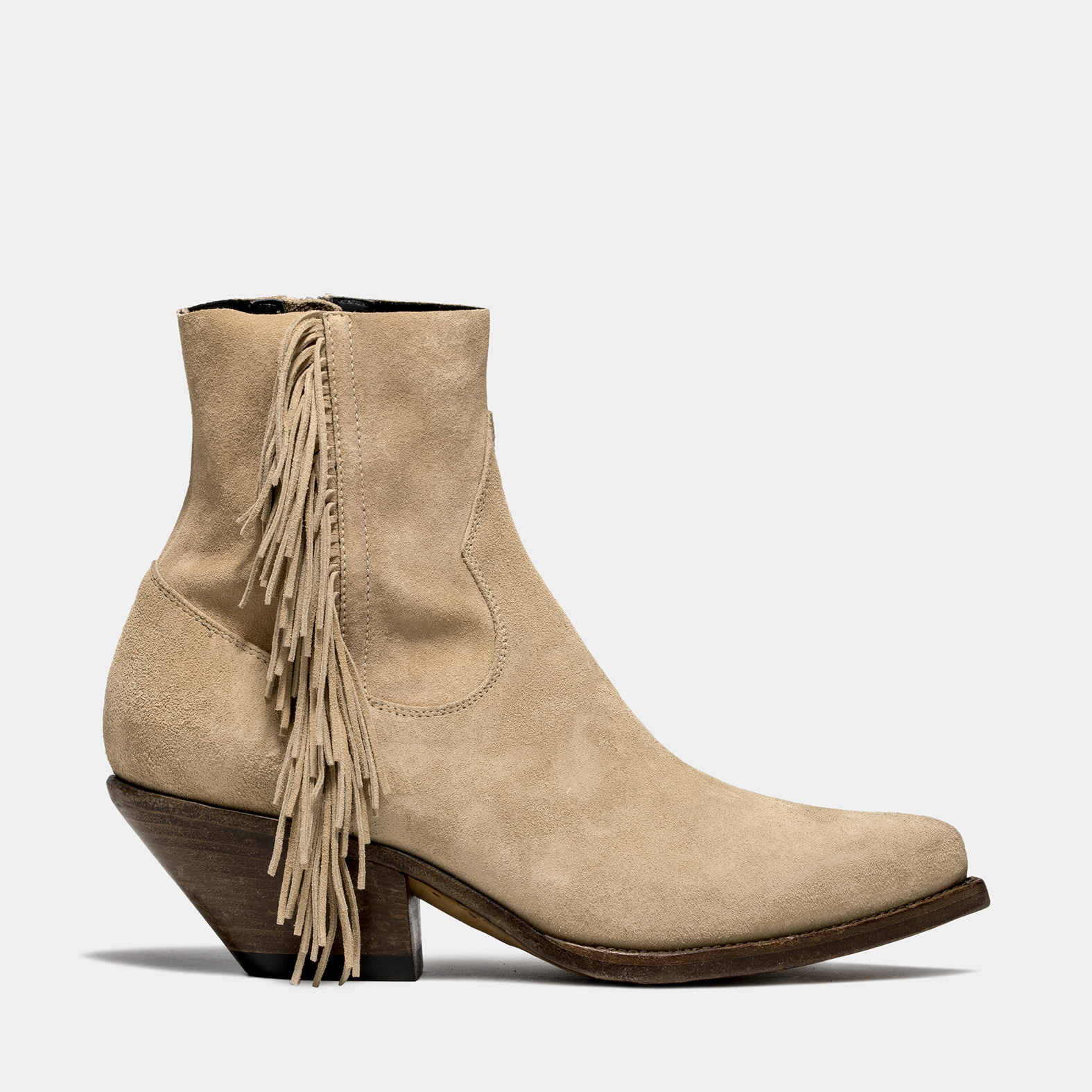 BUTTERO: ELISE LOW TOP DURANGO BOOTS IN SUEDE COLOR CAPPUCCINO WITH FRINGES
