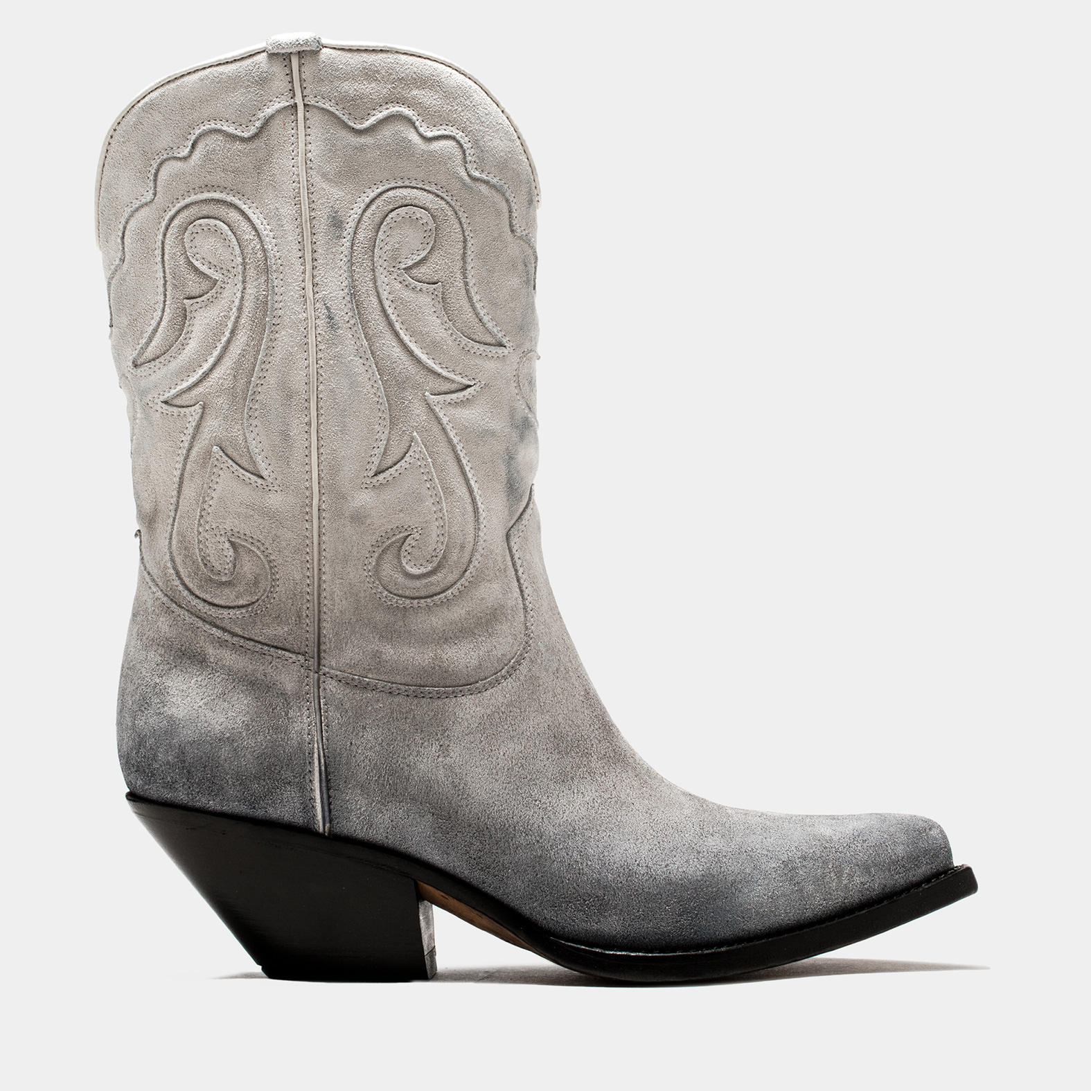 BUTTERO: ELISE MID TOP DURANGO BOOTS IN WHITE/GRAY/BLACK DEGRADE' SUEDE