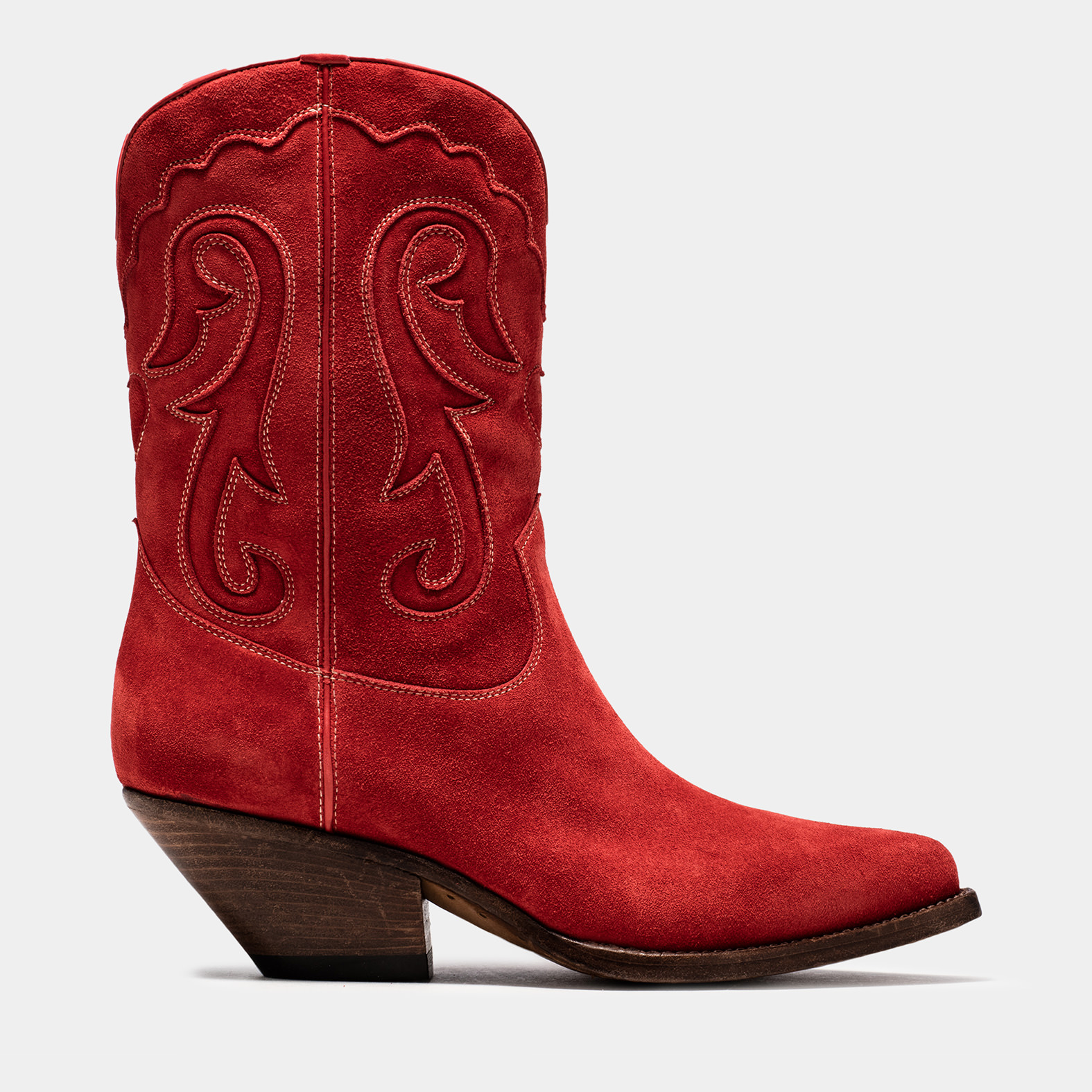 BUTTERO: ELISE MID TOP DURANGO BOOTS IN RUBY SUEDE