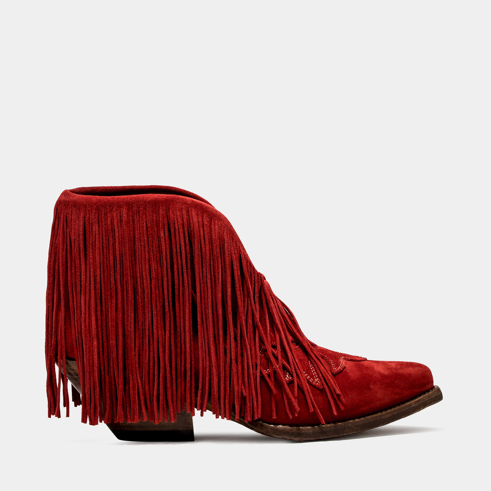 BUTTERO: ELISE LOW TOP DURANGO BOOTS IN RUBY SUEDE WITH FRINGES