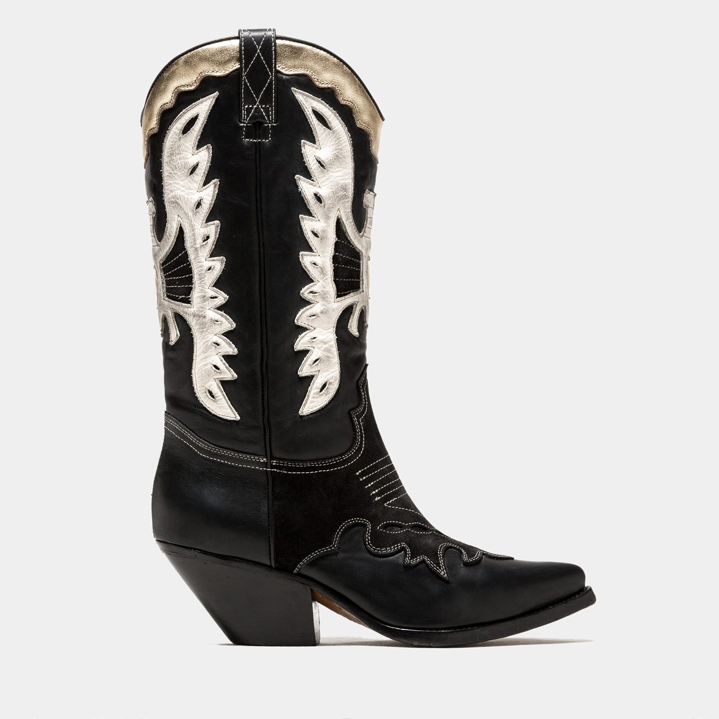 BUTTERO: BLACK ELISE DURANGO BOOTS WITH INLAYS
