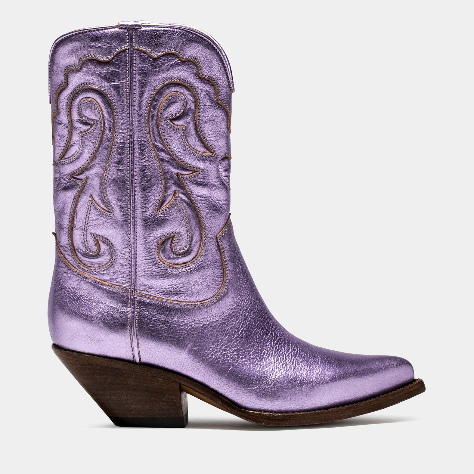BUTTERO: ELISE MID TOP DURANGO BOOTS IN PINK LAMINATED LEATHER