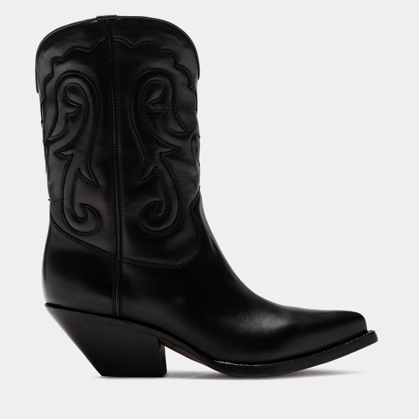 BUTTERO: ELISE MID TOP DURANGO BOOTS IN BLACK LEATHER