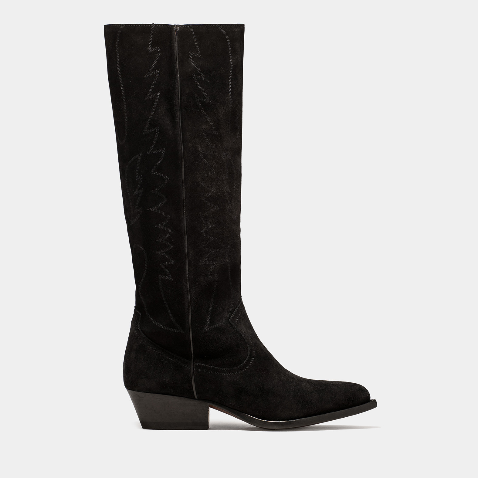 BUTTERO: TRES KNEE HIGH DURANGO BOOTS IN BLACK SUEDE