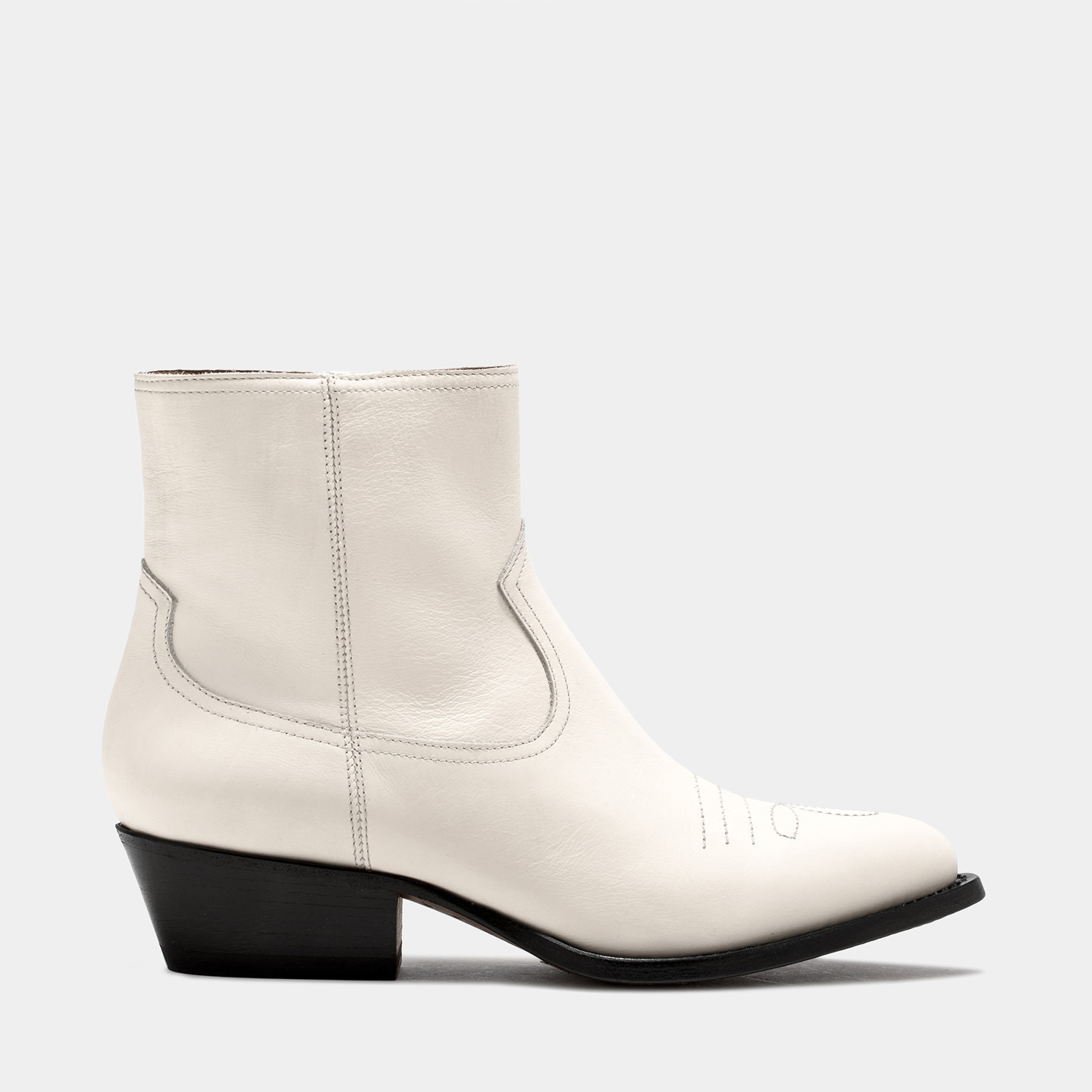 BUTTERO: TRES DURANGO BOOTS IN WHITE LEATHER